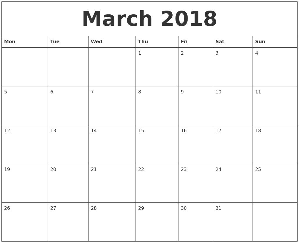 March 2018 Free Printable Weekly Calendar