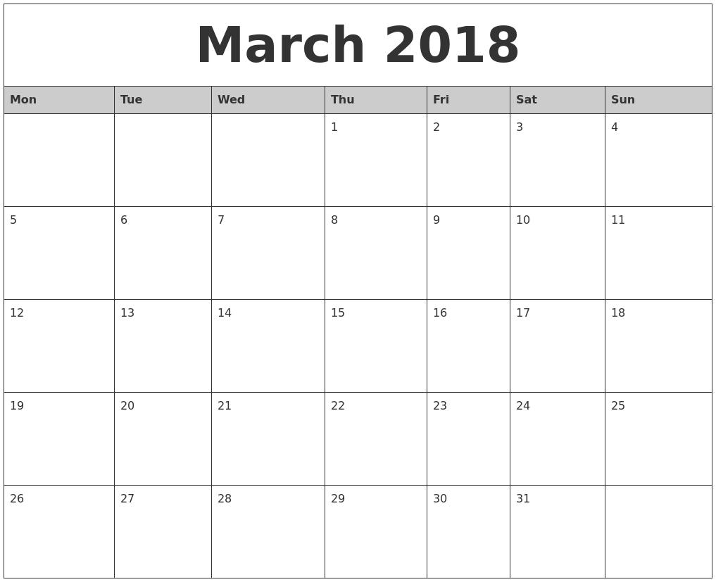 Monthly Calendar Monday Start : March monthly calendar printable