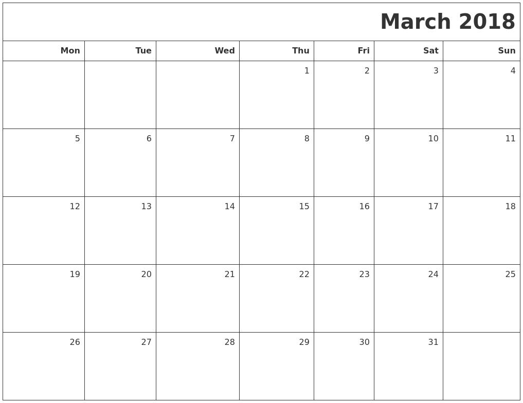 blank calendar for march 2018