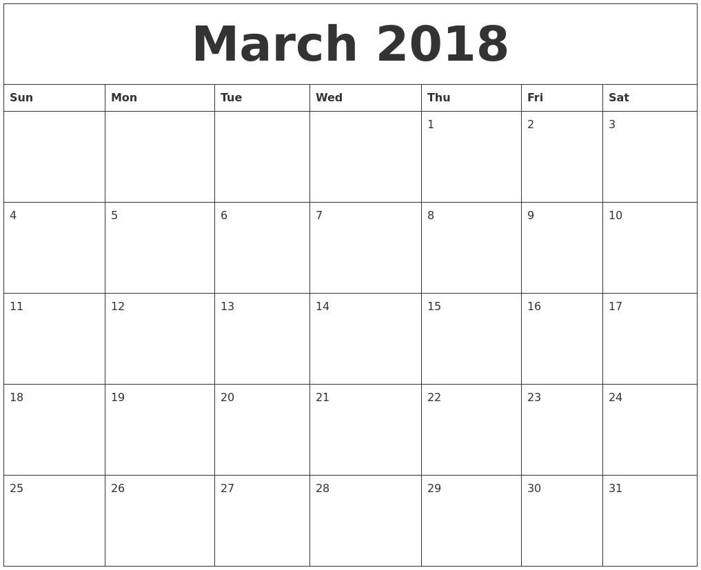 March 2018 Printable Calendar Free