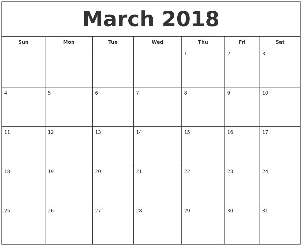 Blank Calendar Of March : March printable calendar