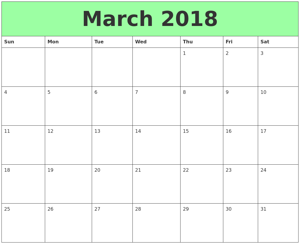 feb and march 2018 calendar