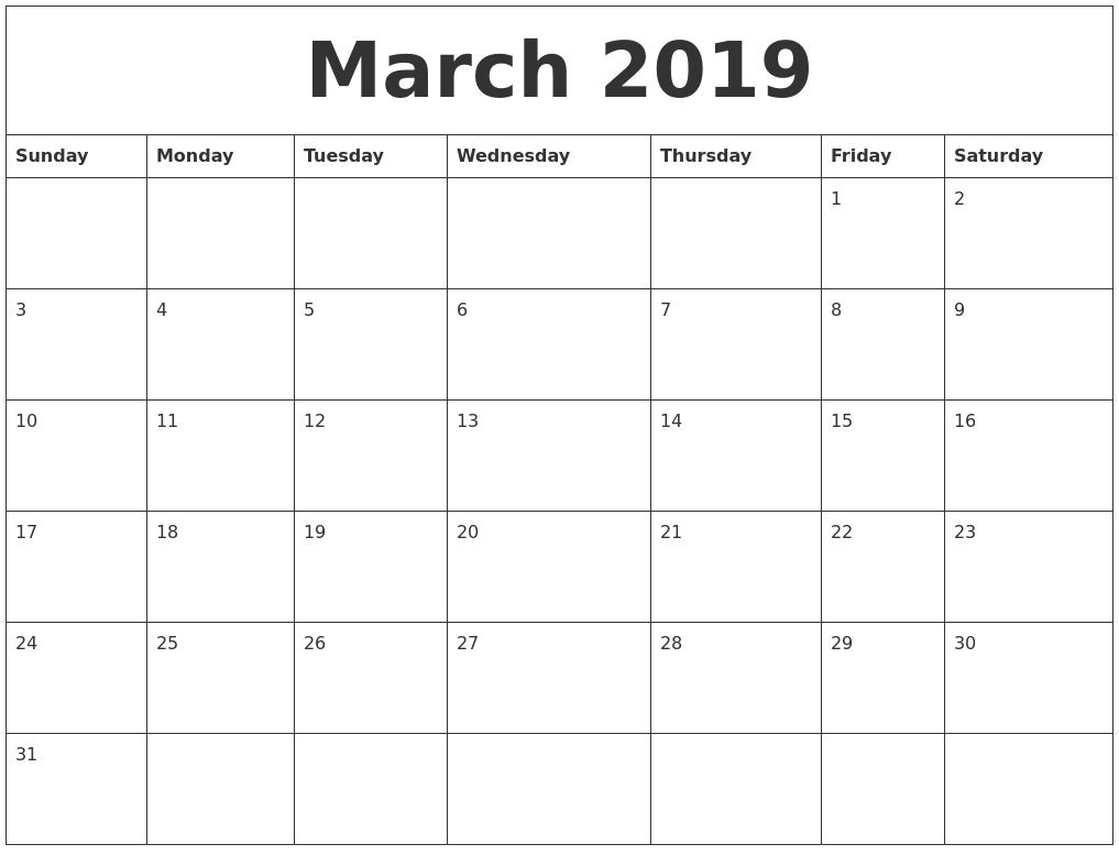 March 2019 Birthday Calendar Template