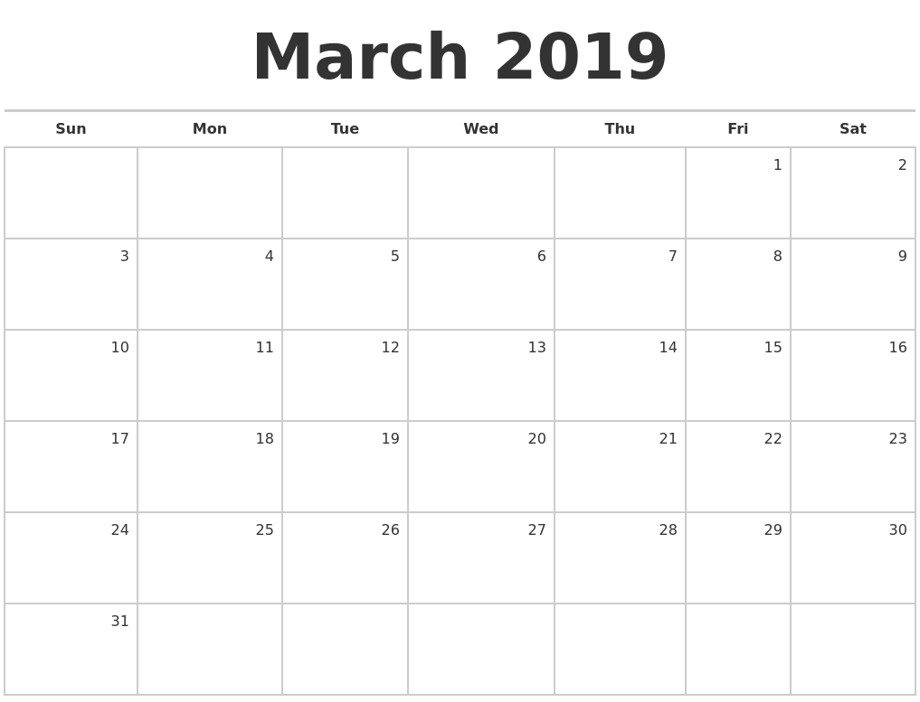 March 2019 Blank Monthly Calendar