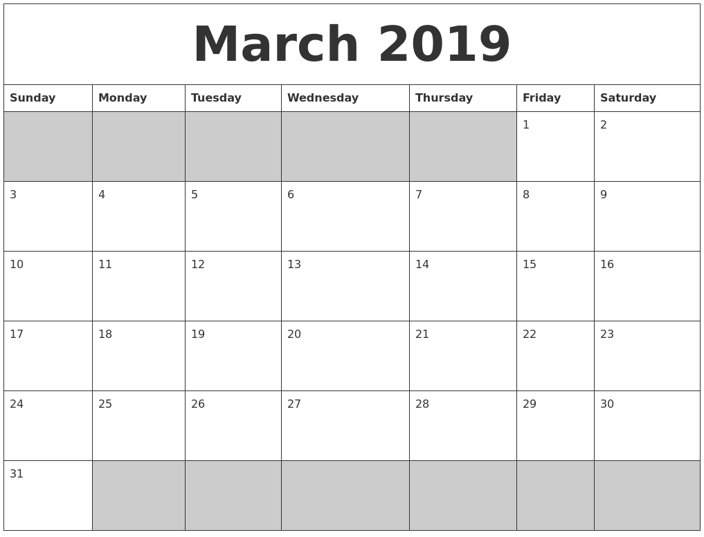 march 2019 blank printable calendar