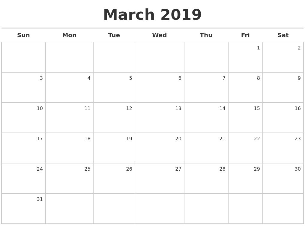 Calendar 2018 April To March 2019