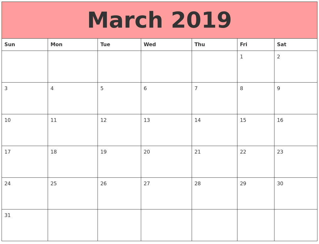 March 2019 Calendars That Work