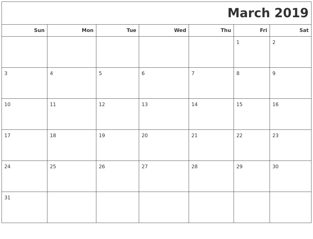 March 2019 Calendars To Print