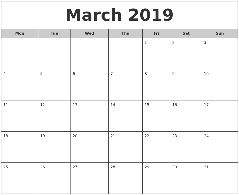 March 2019 Free Monthly Calendar PDF's