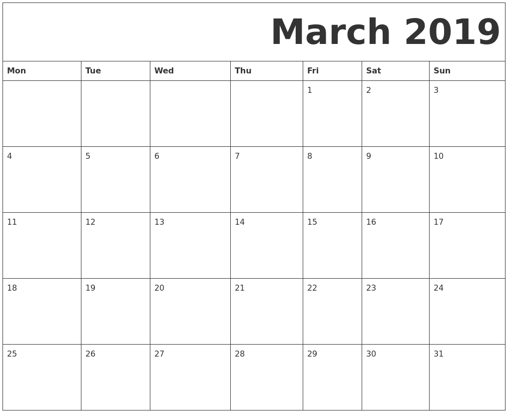 picture relating to Free Printable March Calendar identify March 2019 Free of charge Printable Calendar