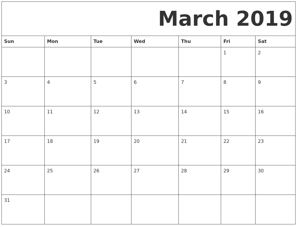 image relating to Calendar March Printable identify March 2019 Free of charge Printable Calendar