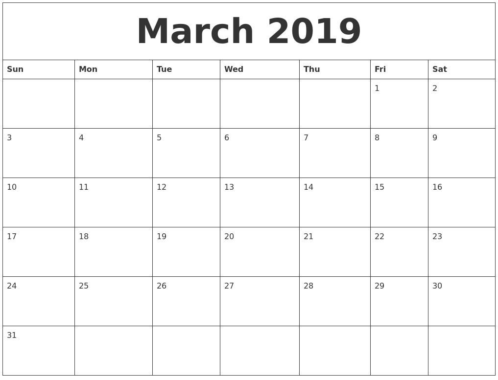 March 2019 Free Printable Monthly Calendar