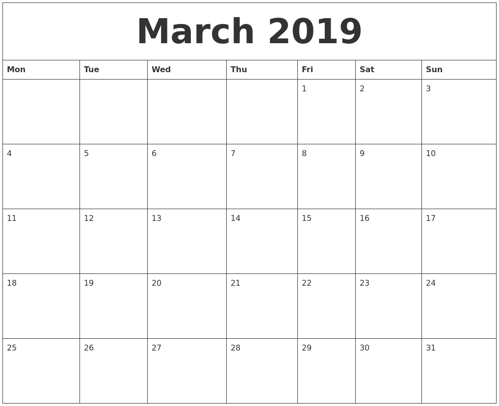 March 2019 Large Printable Calendar PDF's