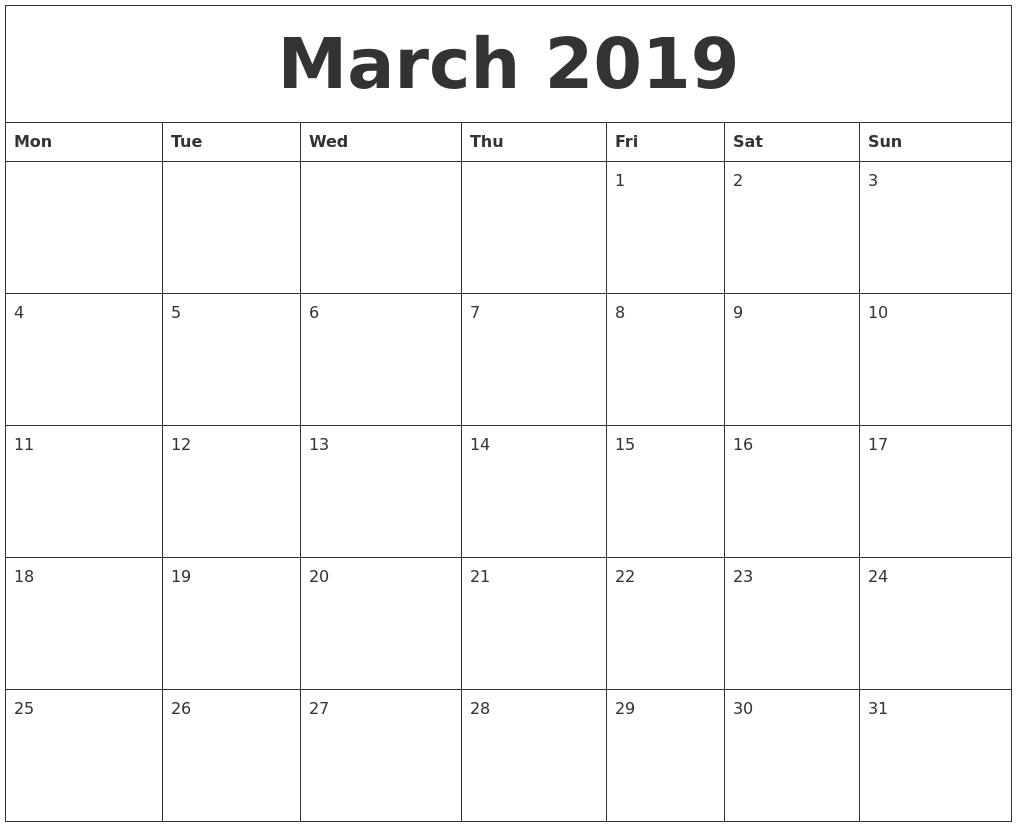 March 2019 Month Calendar Template