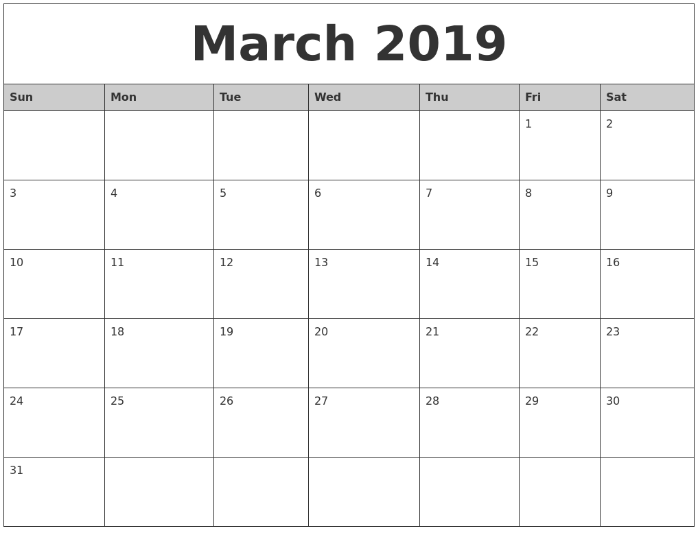 March 2019 Monthly Calendar Printable