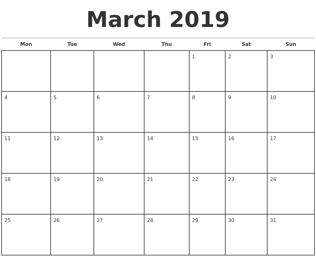 Monthly Calendar Outline : March monthly calendar template