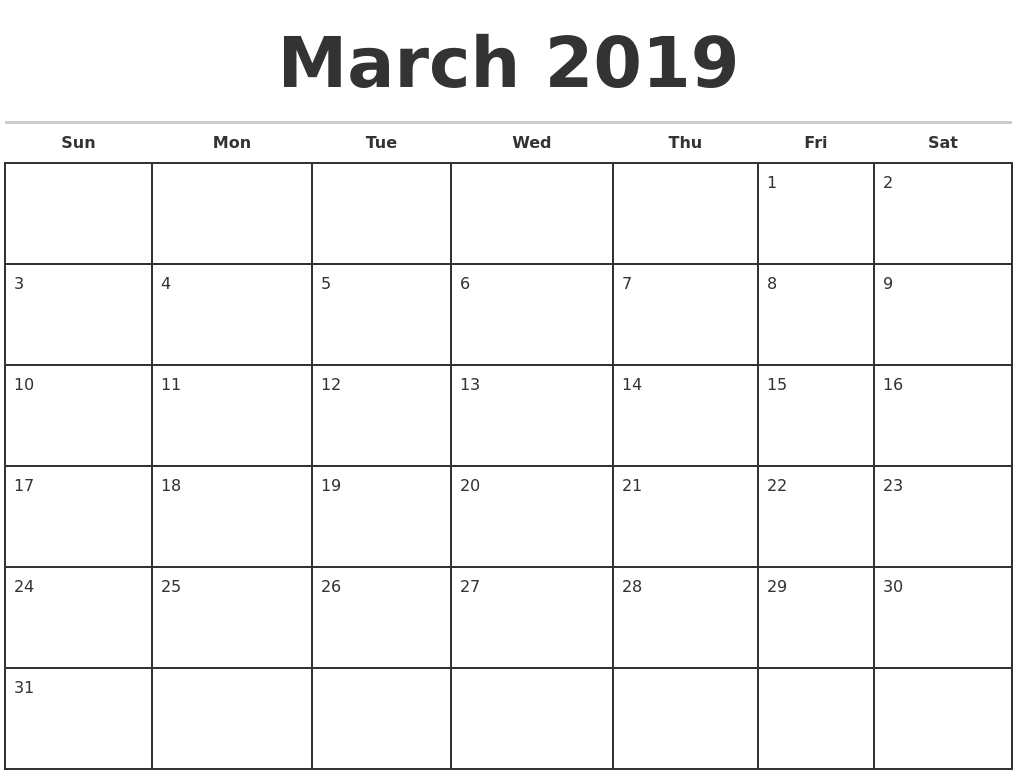 March 2019 Monthly Calendar Template