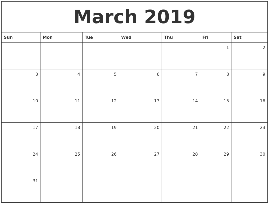 March 2019 Monthly Calendar