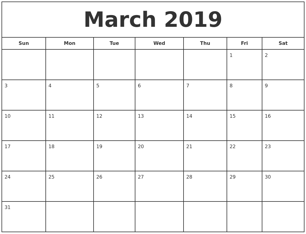 picture regarding Calendars Printable Free titled March 2019 Print Totally free Calendar