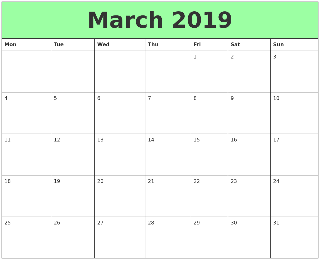 March 2019 Printable Calendars