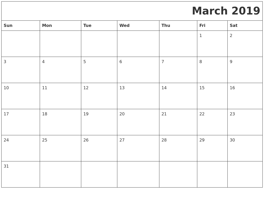 March 2019 Printable Calender