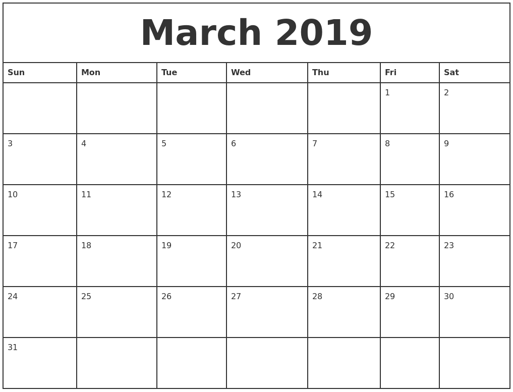 March 2019 Printable Monthly Calendar