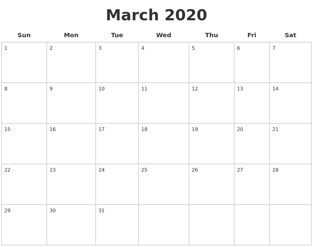 March 2020 Blank Calendar Pages