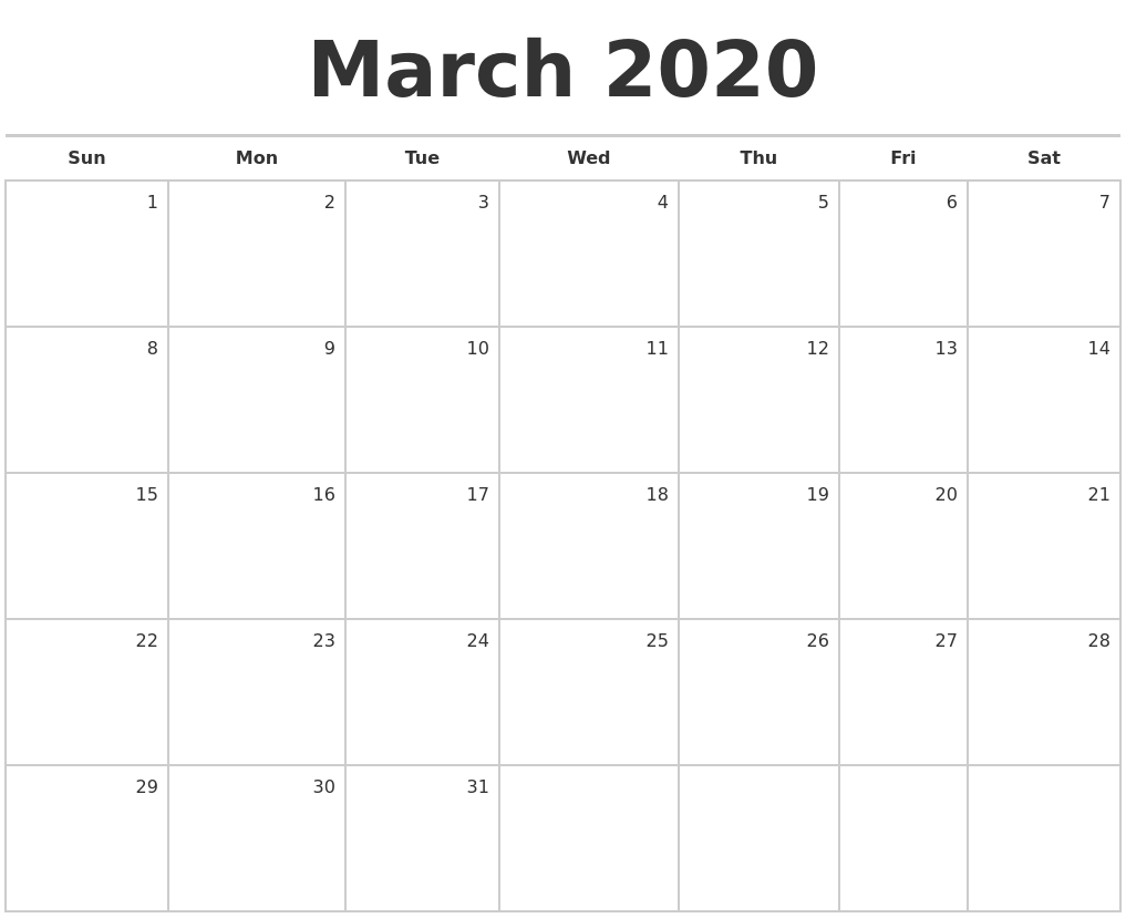 March 2020 Blank Monthly Calendar