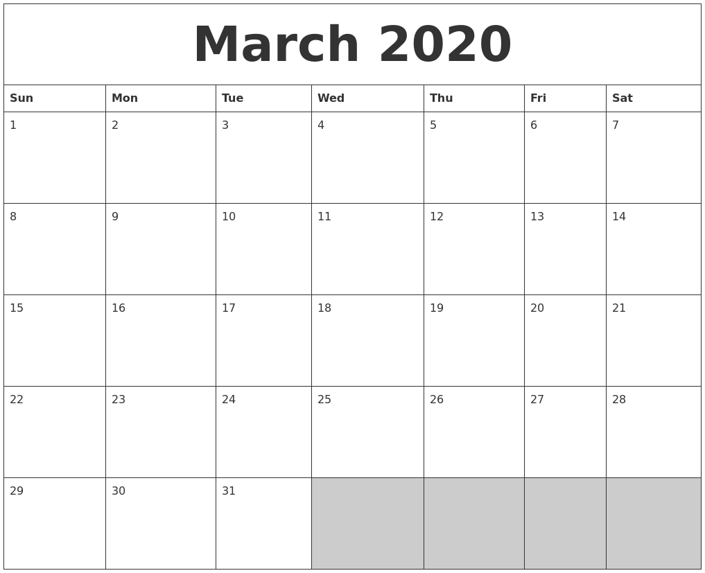 image relating to March Calendar Printable named March 2020 Blank Printable Calendar