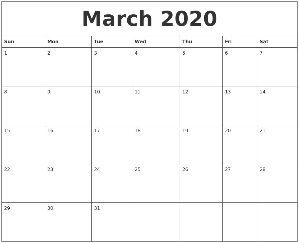 Free 2020 Calendar Printable Pdf.March 2020 Calendar Printable Free