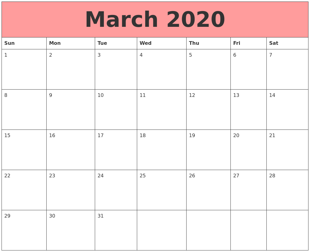 March 2020 Calendars That Work