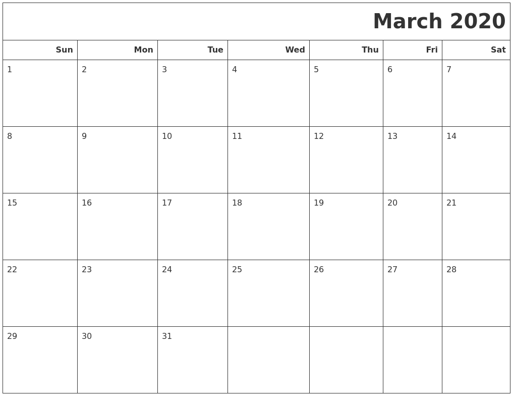 March 2020 Calendars To Print