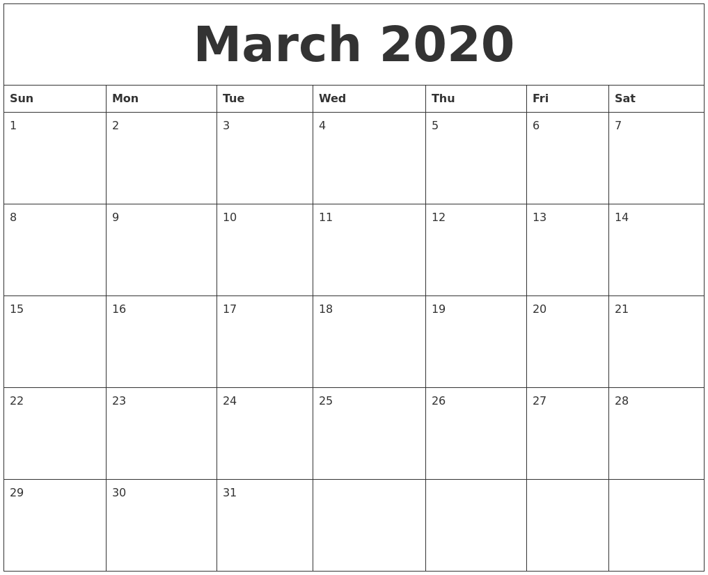 February 2020 Blank Monthly Calendar Template