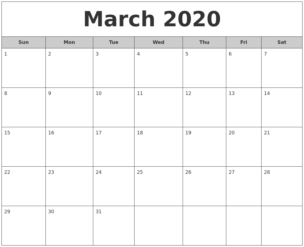 March 2020 Free Monthly Calendar