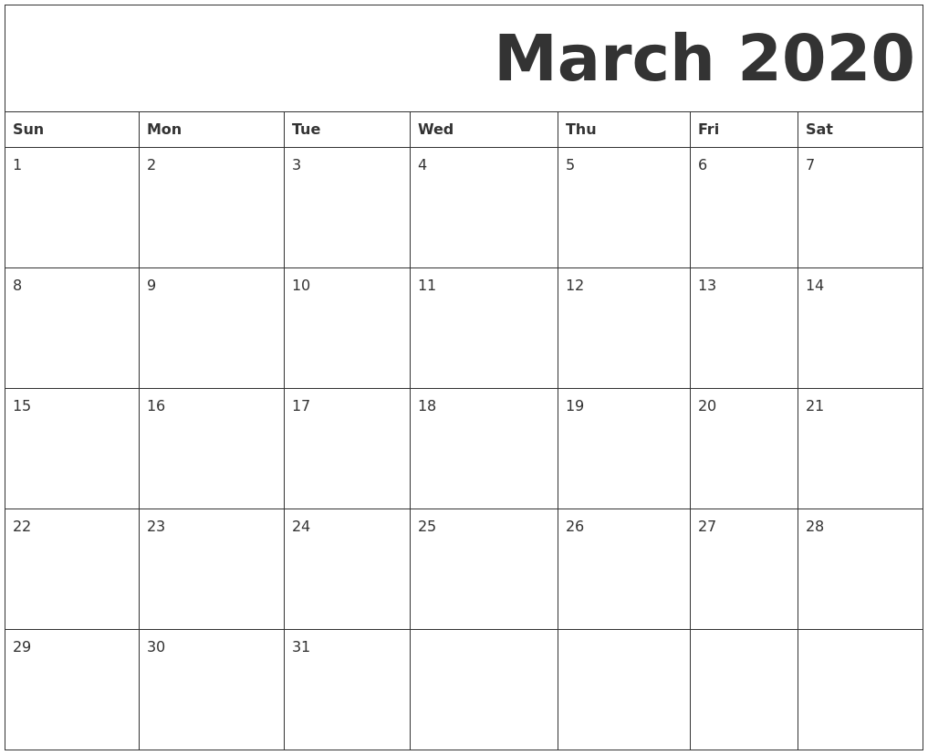 Calendar 2020 February And March.March 2020 Free Printable Calendar