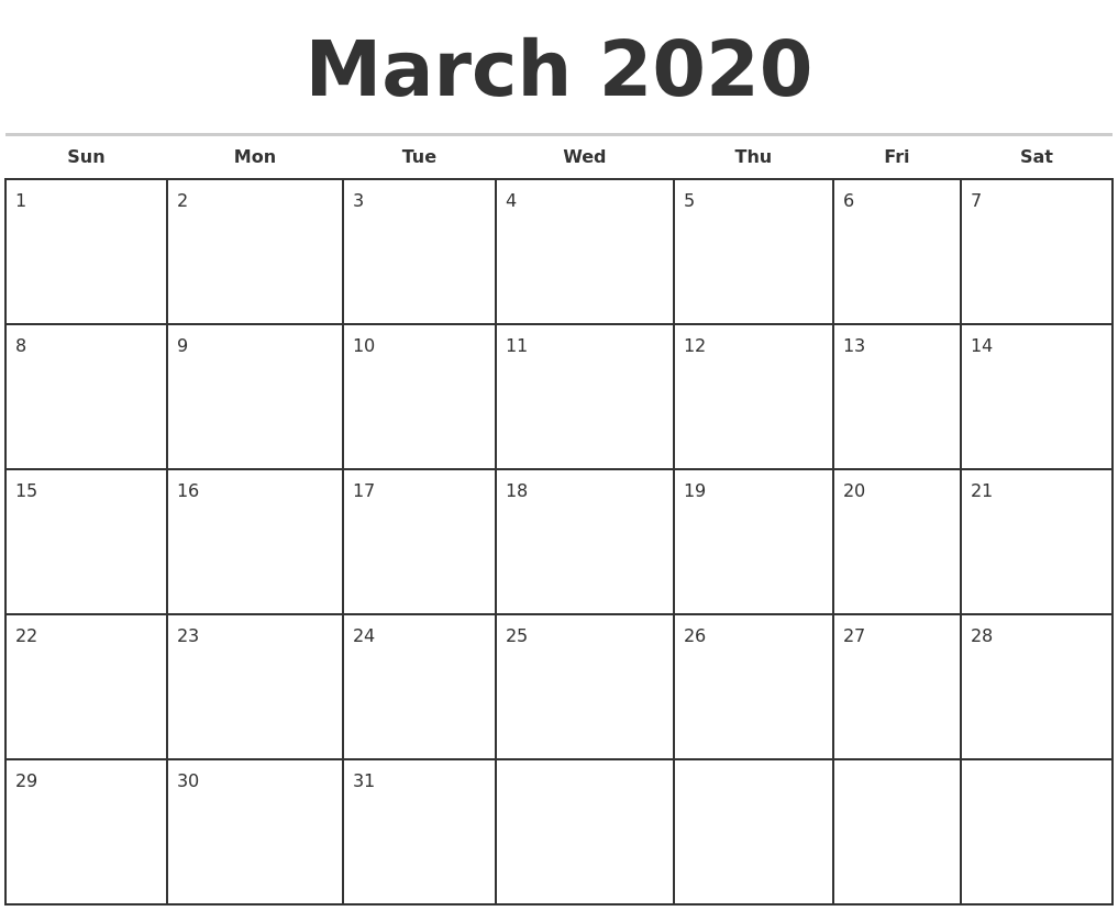 March 2020 Monthly Calendar Template
