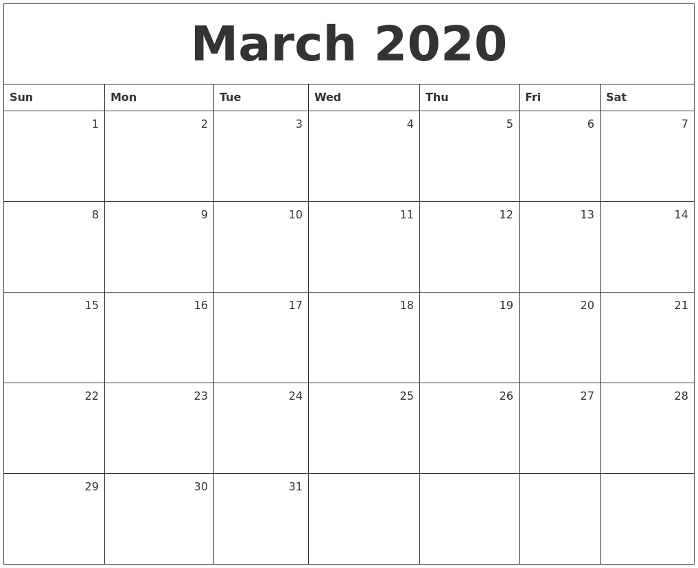 March 2020 Monthly Calendar