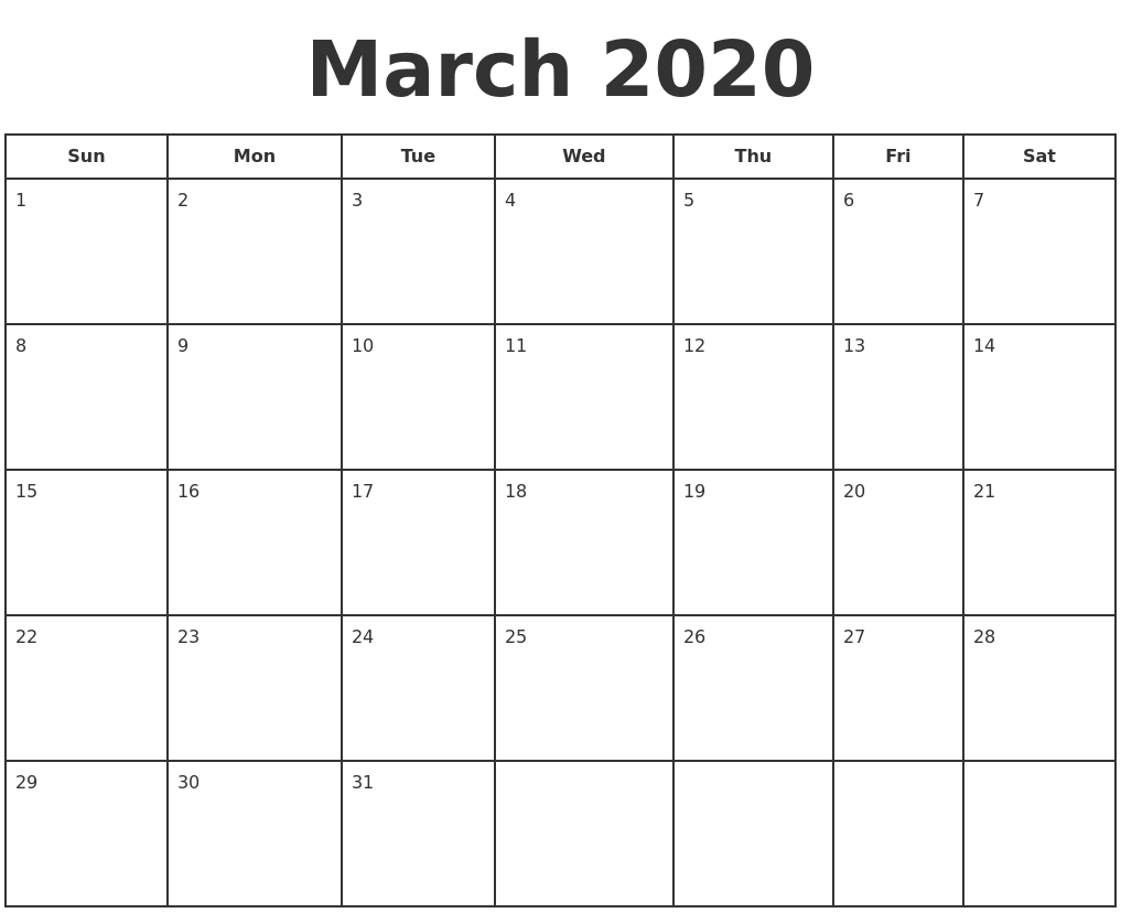 Calendar Typography Zoom : March print a calendar