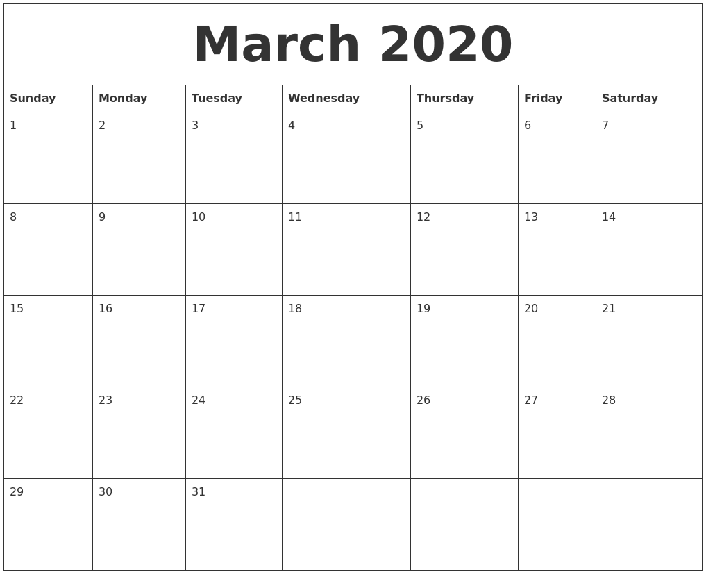 It's just a picture of Intrepid Printable 2020 Monthly Calendars