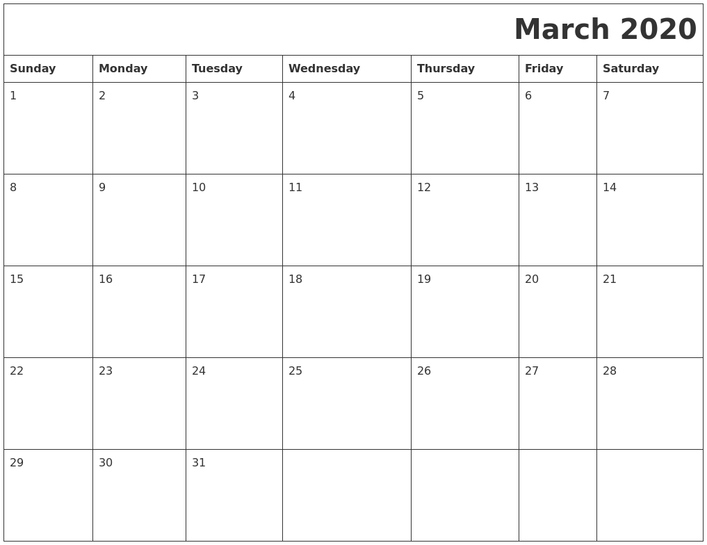 March 2020 Printable Calender