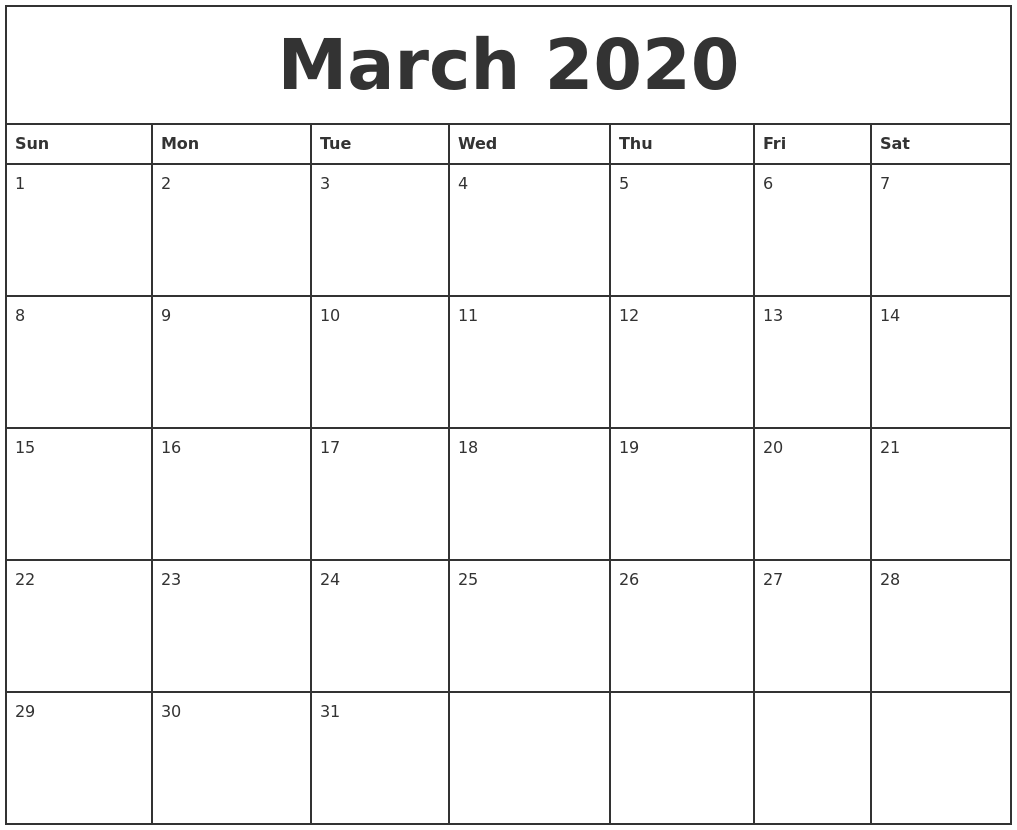 March 2020 Printable Monthly Calendar