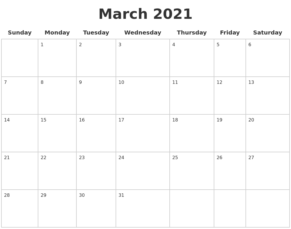 March 2021 Blank Calendar Pages