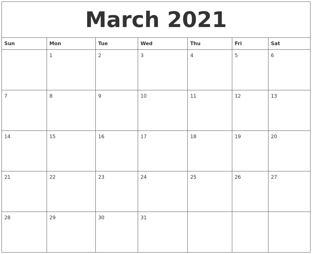 March 2021 Monthly Calendar March 2021 Blank Monthly Calendar Template