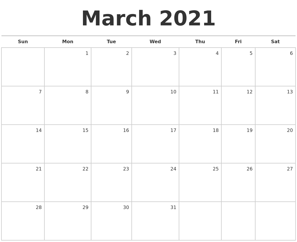 March 2021 Blank Monthly Calendar