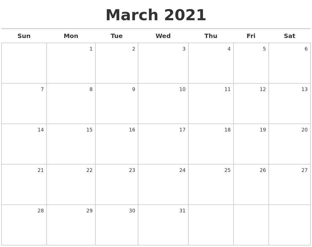 Calendar Maker 2021 March 2021 Calendar Maker