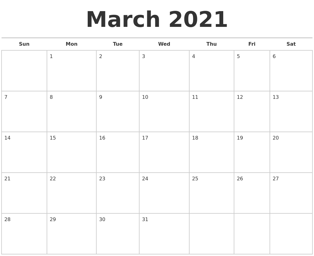 March 2021 Calendars Free