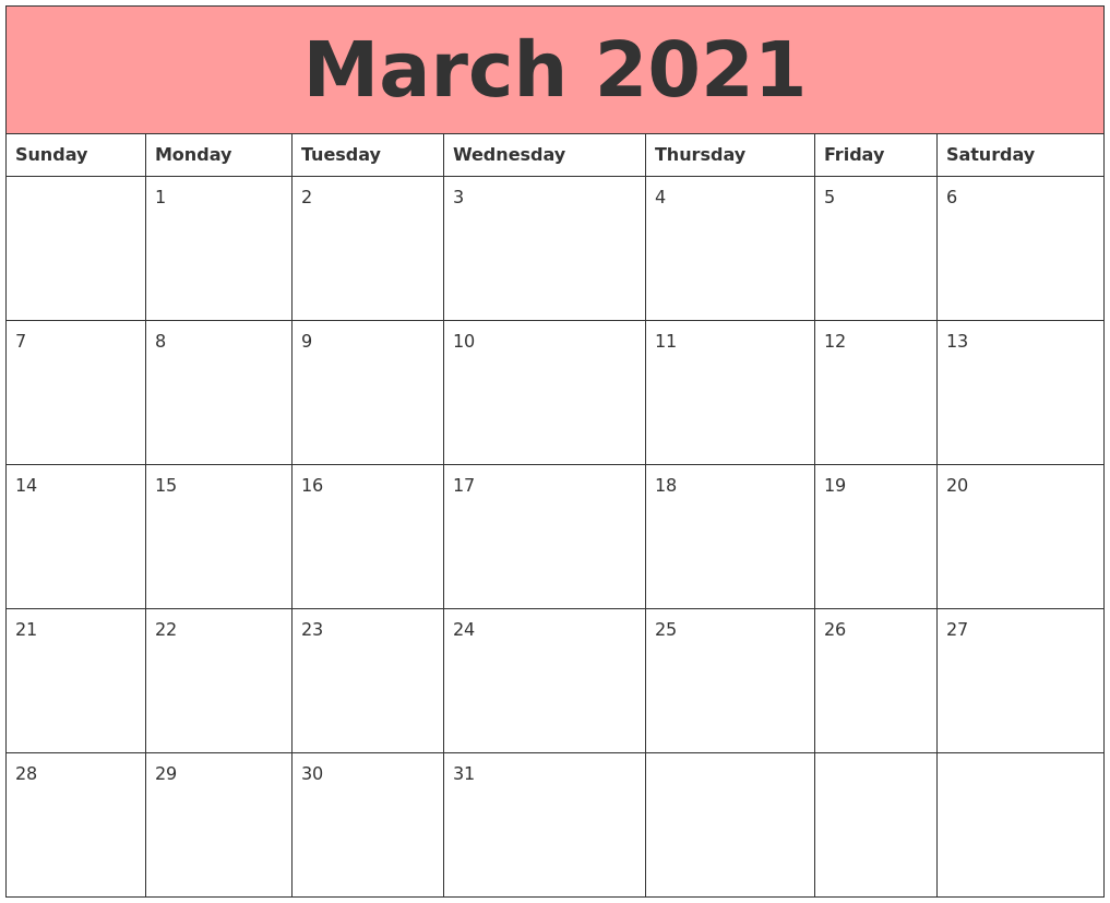 March 2021 Calendars That Work