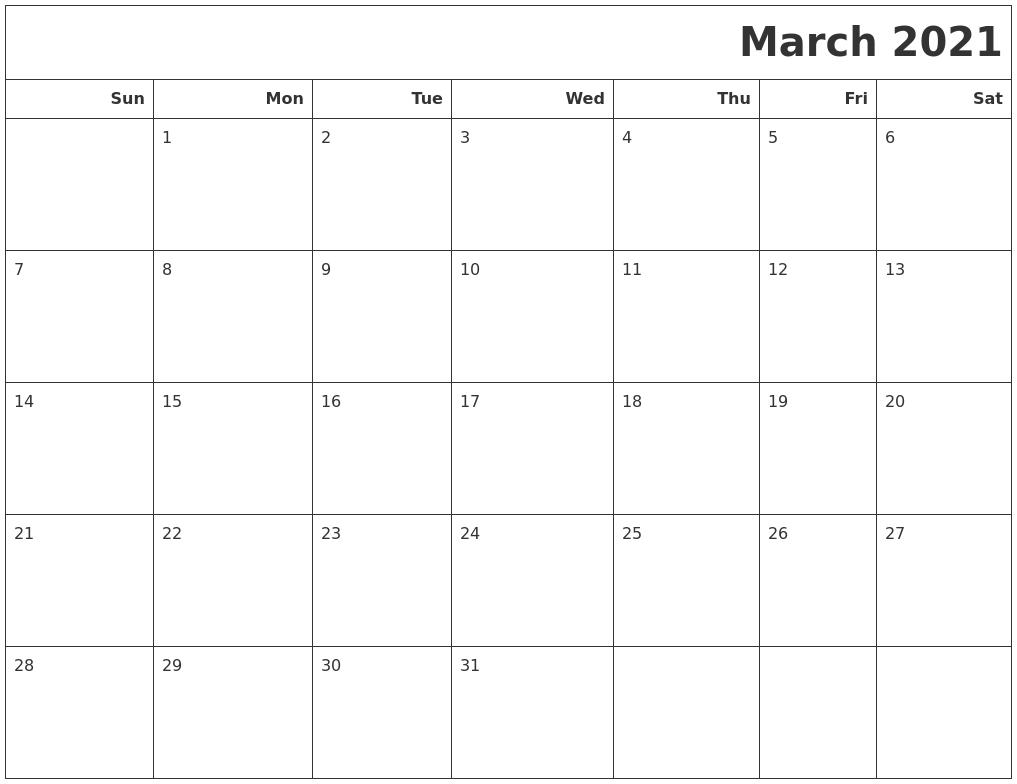 March 2021 Calendars To Print