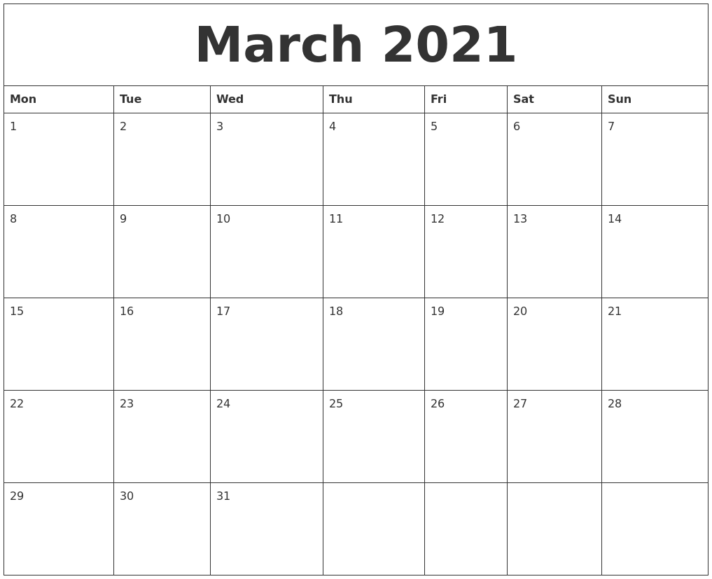 March 2021 Free Blank Calendar PDF's