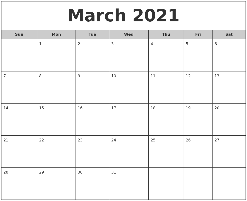 March 2021 Free Monthly Calendar